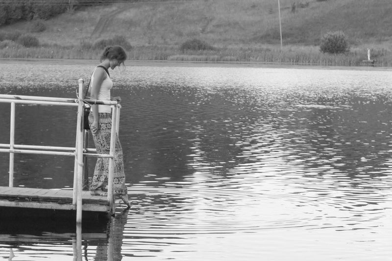 Touching water Blackandwhite Childhood Day Full Length Girl Lake Nature One Person Outdoors Real People Water