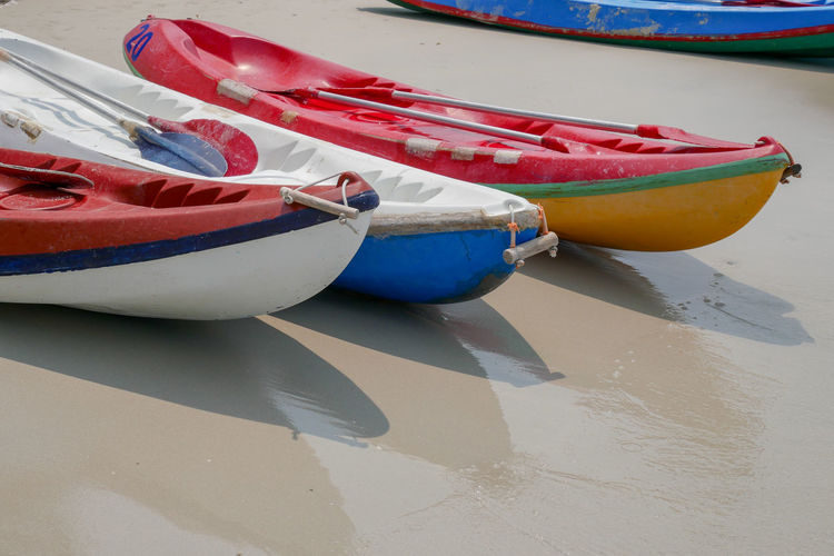 High angle view of boats moored on beach