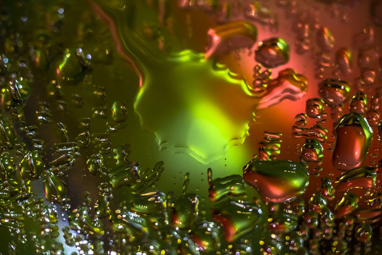 Playing with colours Full Frame Backgrounds Water Close-up No People Green Color Selective Focus Indoors  Food And Drink Nature Pattern Abstract Motion Transparent Drop Glass - Material Multi Colored Wet Purity Colors Colorful Red Color
