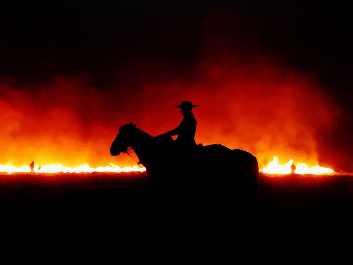 El Capataz Fire Burning Night Outdoors Flame Scenics Tranquility Photographer Chile Countryside Country Life Burning Burning Grass Silhouette Love Horses Horse El Capataz Horse Riding