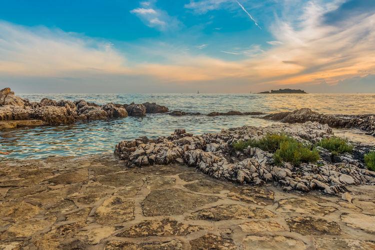 Scenic view of beautiful sunset above the adriatic sea, croatia