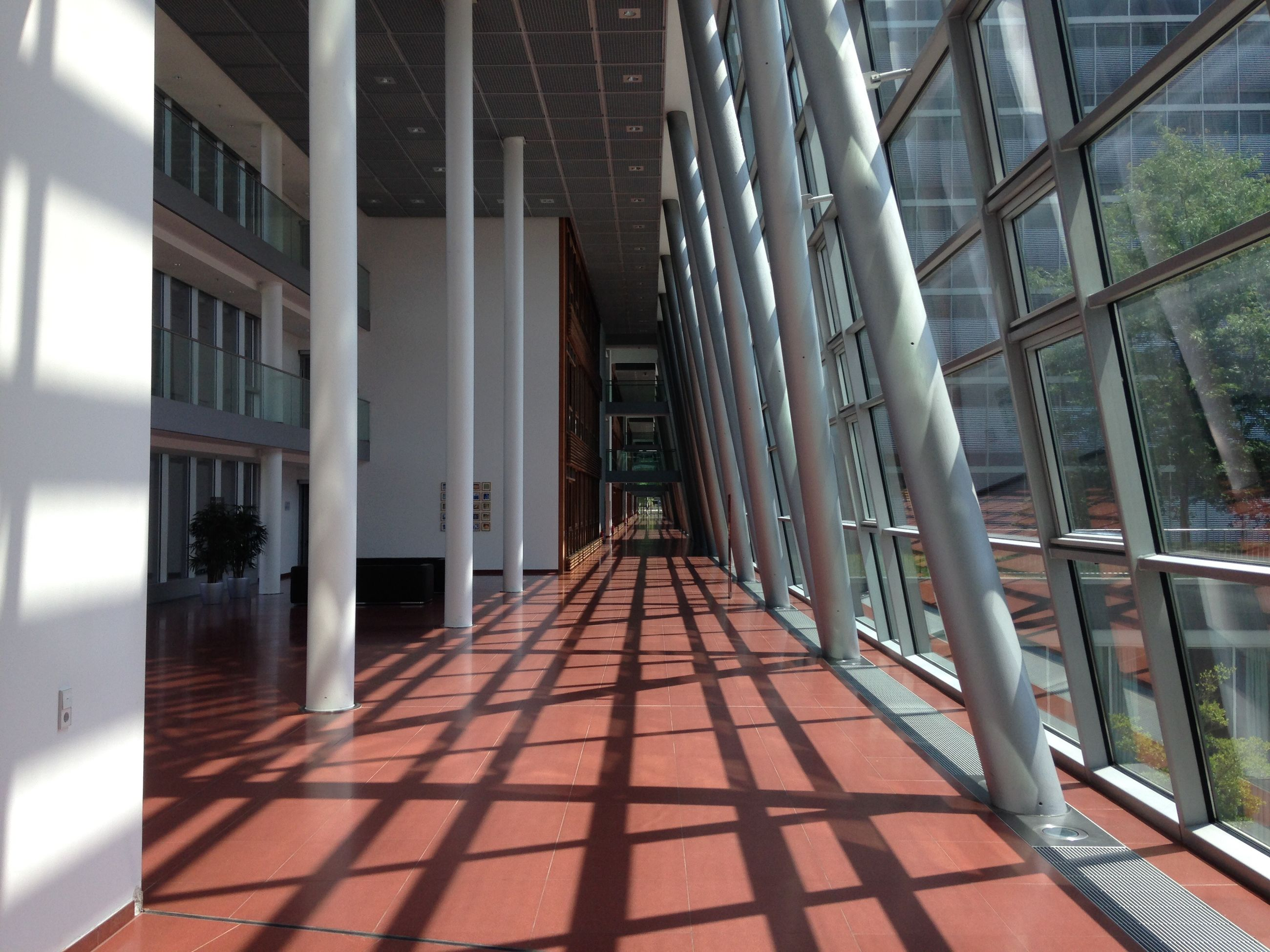 architecture, built structure, building, building exterior, the way forward, day, sunlight, window, direction, no people, corridor, arcade, flooring, diminishing perspective, outdoors, empty, glass - material, shadow, nature, modern, architectural column, tiled floor, surface level