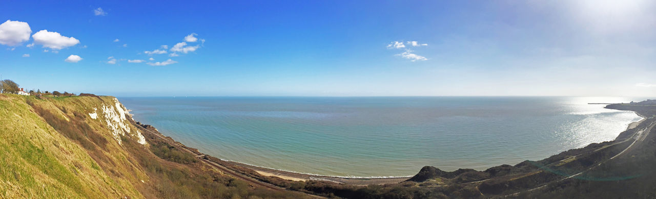 English channel Beach Beauty In Nature Blue Coastline Countryside English Channel Horizon Over Water Idyllic Nature Panorama Panoramic Remote Rock - Object Scenics Sea Shore Sky Sun Sunbeam Sunlight Tranquil Scene Tranquility Water Wide Angle