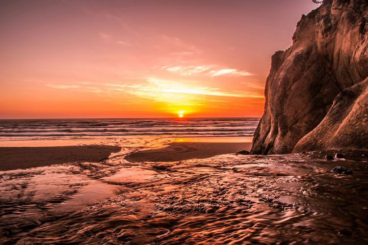 Sunset Hug Point Oregon Coast Canon Beach Landscape