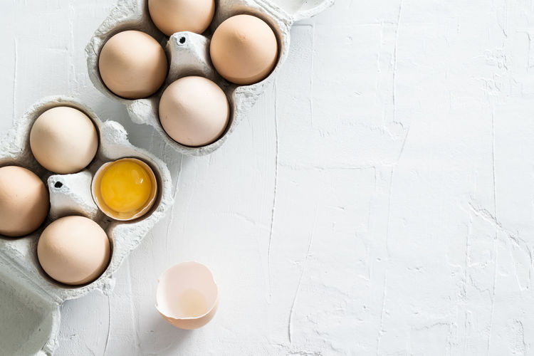 Directly above shot of eggs on table