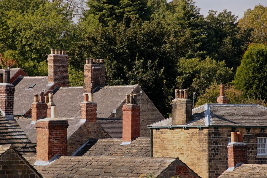 Roof Tops, Chimney Tops South Yorkshire Architecture Brick Building Building Exterior Built Structure Cemetery Day Grave History House Nature No People Outdoors Place Of Worship Plant Religion Residential District The Past Tombstone Tree Wentworth