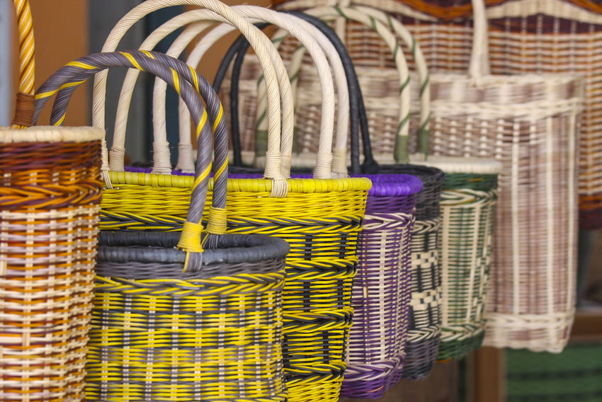 Handcraft. The traditional basket is made of rattan Rain Basket Close-up Day Handmade Indoors  Multi Colored No People Textile Traditional