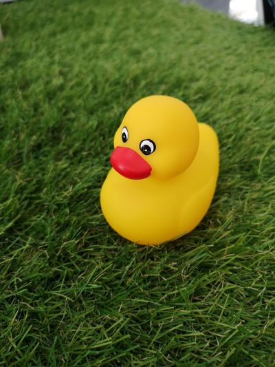 Close-up of yellow toy on grass