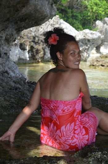 just another sunny day in the tropics Aotaha Caves Bellona Solomons Balmy South Pacific No Stress Sarong Hibiscus No Pollution Fresh Air