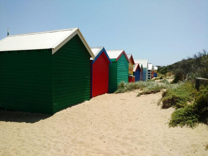 Bathing Boxes Melbourne Victoria Australia Vicroria Australia Melbourne Beach Brighton Beach Brighton Beach Bathing Boxes Sand Beach Built Structure Sunny Architecture Outdoors Day Building Exterior Sky Summer No People Clear Sky Nature Sand Dune