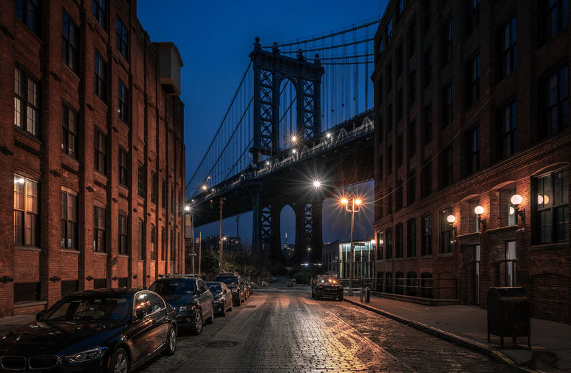 View on Manhattan bridge, Brooklyn New York Illuminated Architecture Built Structure Building Exterior City Street Night Bridge Road Land Vehicle The Way Forward Direction Car Connection Bridge - Man Made Structure No People Brooklyn Manhattan Bridge New York NYC Urban Urban City