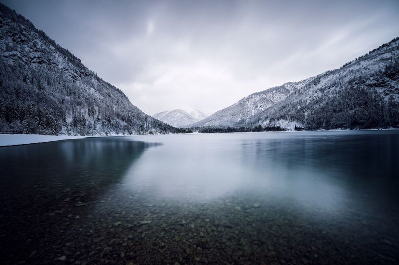 Panoramic view of mountains and lake during winter