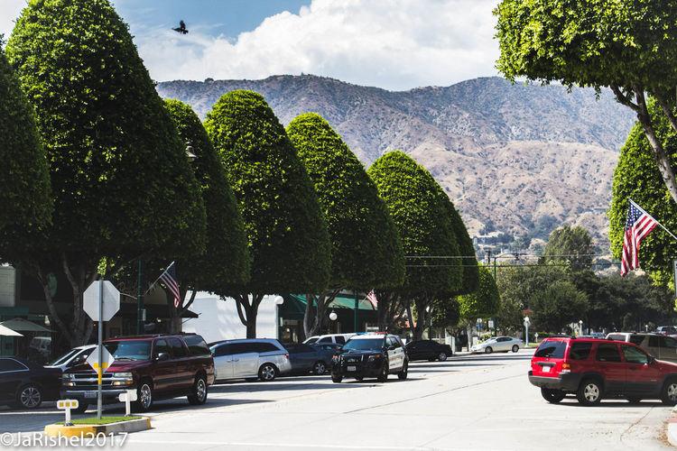 Cars on mountain against sky