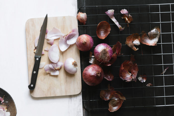 Preparing red onions for cook Abundance Arrangement Chopping Board Food Food Preparation Freshness Group Of Objects Healthy Food Herbal Kitchen Knife No People Red Onions Seasoning Sliced Still Life Tuber Vegetables