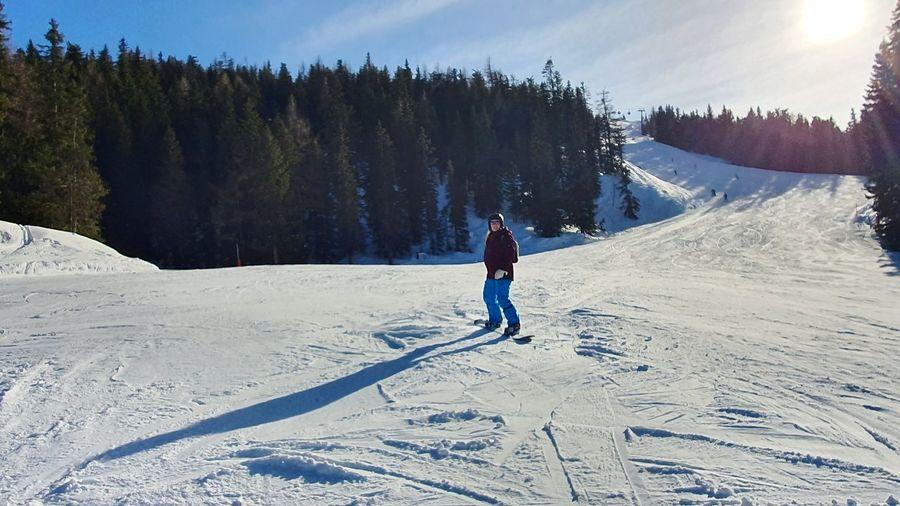 Full length of man skiing on snowcapped mountain against sky