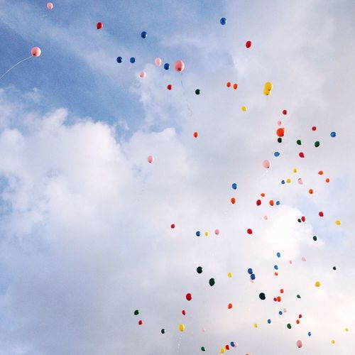 Colorful Balloons in the Sky above Copenhagen Fun