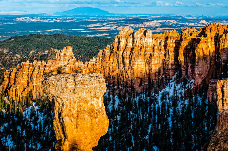 Scenic view of mountains at bryce canyon national park against sky during winter