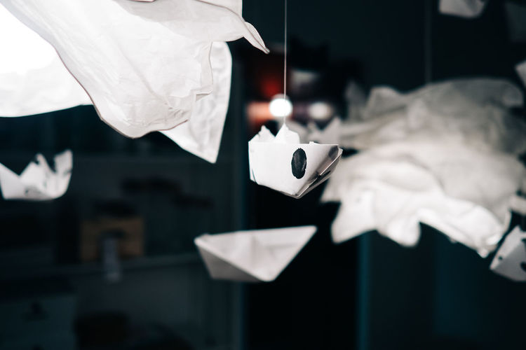 Close-up of origami hanging at home