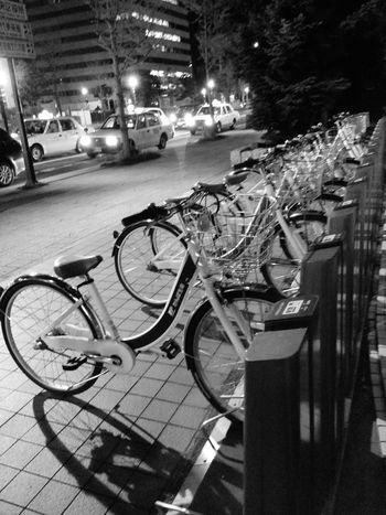 Japanese Hotel Roadside Sapporo Black And White Bicycles Parking Lot Night Photography Cars Light And Shadow