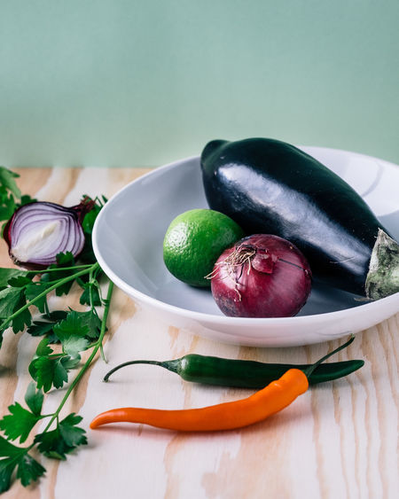 Vegetables in bowl on table