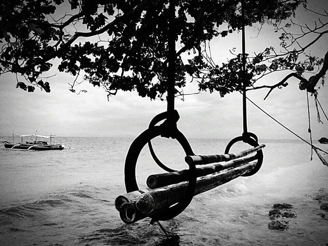 Empty Chair Blackandwhite Treescape Sad & Lonely Relaxing EyeEm Best Shots Eye4black&white  Streetphotography Sea View Little Boat # if you like my photo follow me...