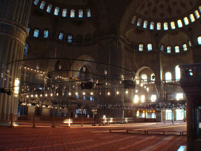 The Blue Mosque ...after the morning prayers After The Prayers Architecture Built Structure Early Morming Expanse Fajr Gathered To Pray Illuminated Indoors  Istanbul Lights Morning Light Ottoman Ottoman Architecture Place Of Worship Religion Sultanahmet The Blue Mosque Tourism Travel Destinations Turkey