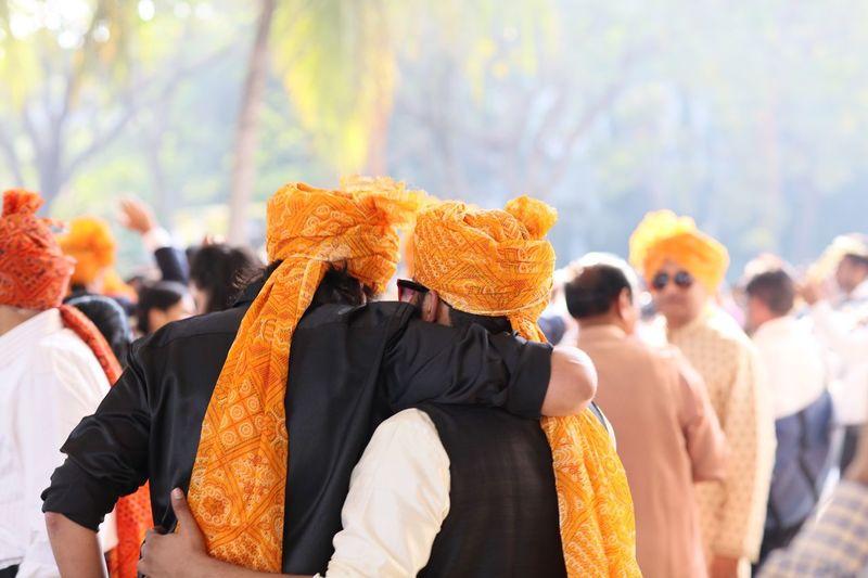 Rear view of men wearing turbans