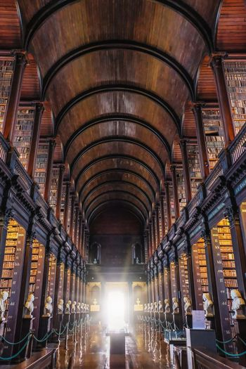 Trinity College Library Library University Campus Indoors  Ceiling Arch Architecture Built Structure In A Row Illuminated No People Low Angle View Architecture And Art