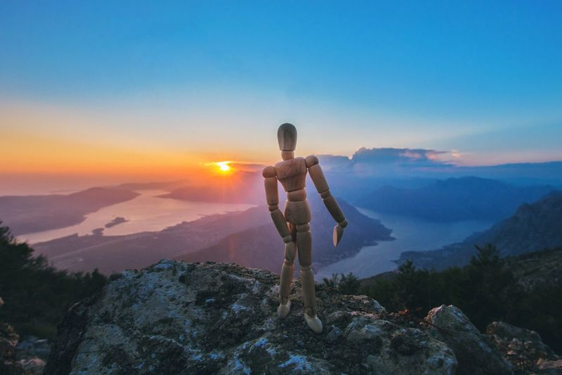 Epic sunset view Panoramic View Montenegro Woodyforest Sky Mountain Scenics - Nature Beauty In Nature Tranquility Nature One Person Tranquil Scene Sunset Real People Standing Tree Land Lifestyles