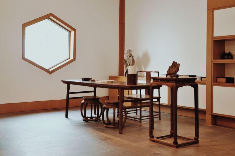 明朝书房 Chinese traditional study in Ming Dynasty. Chinese Traditional Culture Study Design Desk Indoors  Chair Desk Table Hardwood Floor No People Day