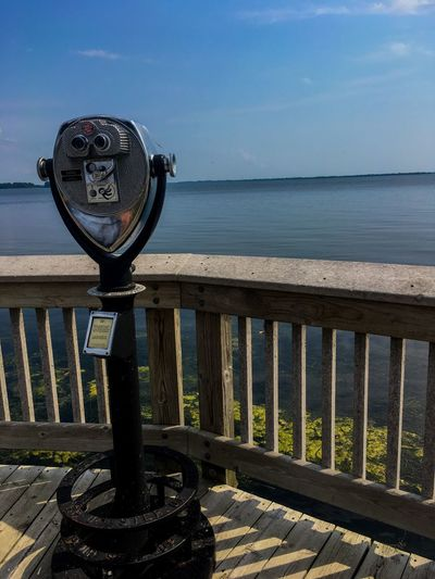 Looking out onto Lake Erie Water Sea Railing Sky Scenics - Nature Nature Tranquility Day Horizon Beauty In Nature Horizon Over Water Tranquil Scene No People Metal Binoculars Outdoors Coin-operated Binoculars Idyllic Sunlight