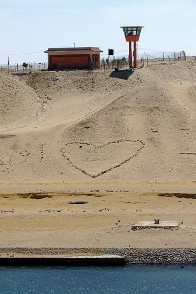 Heart In The Sand Watch Tower Architecture Building Exterior Built Structure Day Heart Military Police No People Outdoors Sand Sinai Desert Suez Canal Water