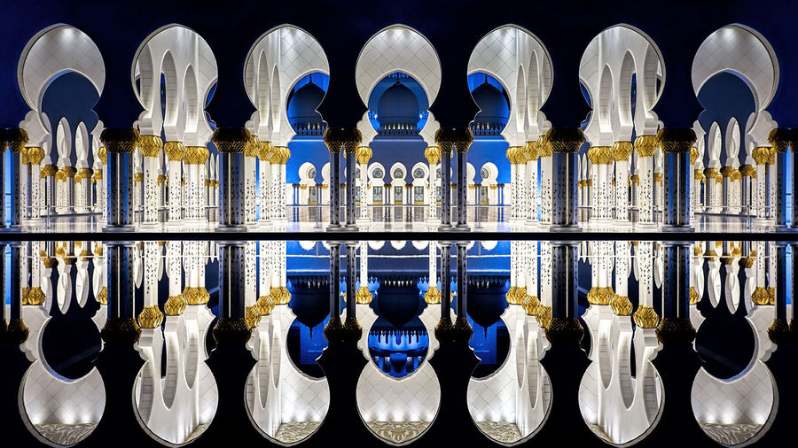 Mosque. Abu Dhabi Sheikh Zayed Grand Mosque UAE Architectural Column Architecture Black Background Blue Built Structure Glass - Material Grand Grand Mosque Illuminated Indoors  Light And Shadow Mosque Night No People Reflection Repetition Side By Side Water HUAWEI Photo Award: After Dark