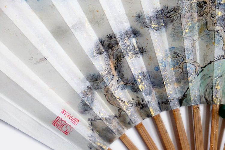 folding fan Folding Fan Chinese Art Chinese Style Chinese Paintings EyeEm Selects High Angle View No People Pattern Still Life Day Indoors