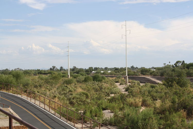 Arid Climate Arid Climate, Arizona Arizona Sky AriZona♡ Bike Trail Cloud - Sky Day Electricity  Fuel And Power Generation Grass Growth Horizontal Nature Nature Nature Photography No People Outdoors Power Line  Power Supply Sky Technology Tree Walking Trail Adapted To The City