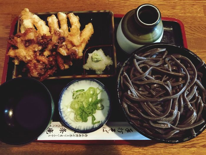 Good Tenpura Japanese Food Soba Food And Drink Food Plate Table Indoors  Still Life Freshness No People