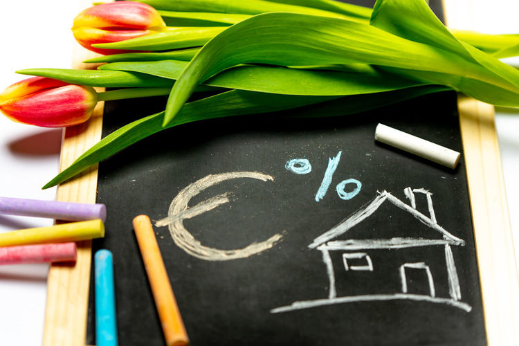 buying house House Home Buying Kredit Credit Buying Blackboard  Flower Childhood Close-up Chalk - Art Equipment Drawing - Art Product Colored Pencil Formula Pencil Mathematics Crayon Sketch