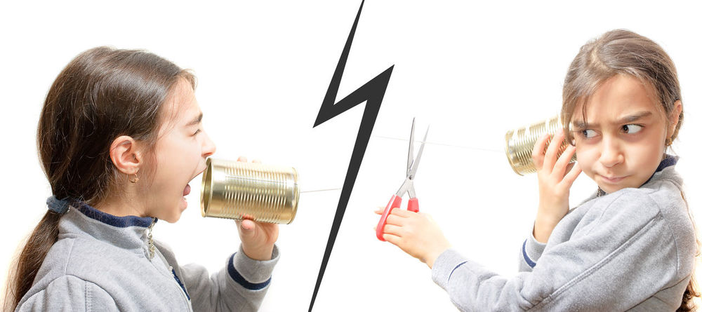 girl screaming in the phone, the other cuts the communication with scissors Angry Child Communication Concept Cut Cutting Incommunicability Jar Play Scissors Scolding Scream Screaming Shout Shouting Speak Speaking Telephone