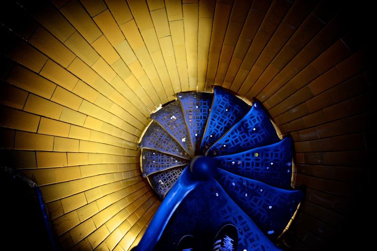 Blue Circle Circular Circular Stairway Concept Create Inspire Looking Down Material Metal On The Top Perspective Share Stairway Stairways Streetphotography Yellow
