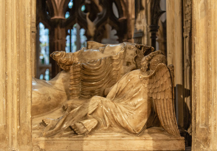2019 Gloucester Gloucester Cathedral June Angel Focus On Foreground No People Carving - Craft Product Place Of Worship Spirituality The Past History Religion Belief Indoors  Human Representation Statue Sculpture