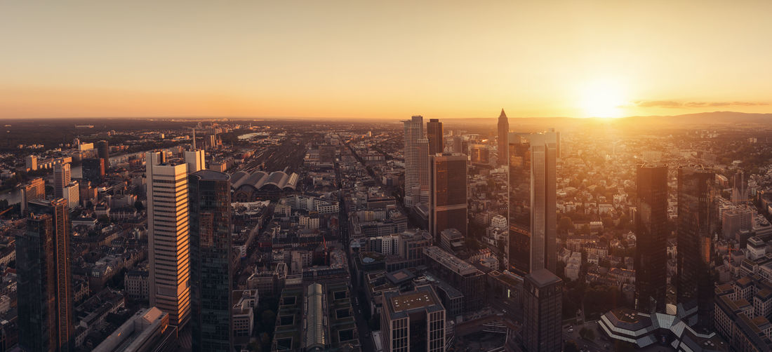 Skyline of frankfurt city with skyscapers at sunset panorama