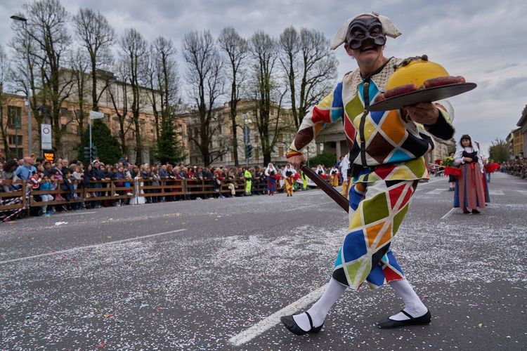 Arlecchino Day Bergamo Real People Celebration Outdoors Italy Period Costume Traditional Clothing