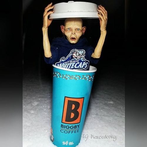 So cold, I just want to crawl into a hot cup of biggby coffee. Biggbyleonardfuller Drinkbiggby Biggbycoffeeismyhappyplace Biggby Neca Smeagol