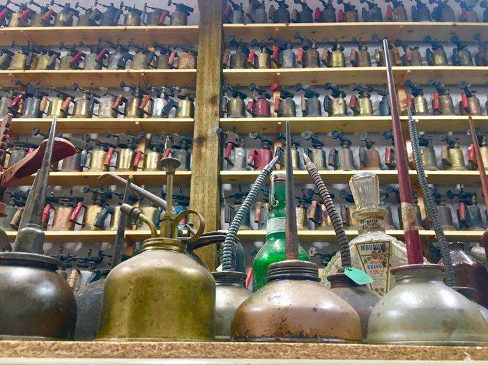 Oil Cans Torches Collection Large Group Of Objects Choice In A Row No People Abundance Arrangement Bottle Container