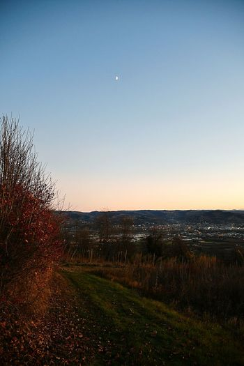 At Sunset Langhe Tranquility Silence Autumn Autumn Colors Travel Destination Scenic Landscape Panoramic Sky Sunset Moon Outdoors No People Clear Sky Scenics Beauty In Nature Nature