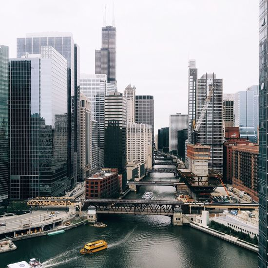 High Angle View Of Chicago River