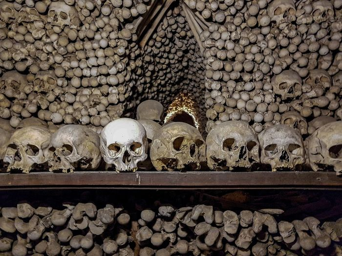 The Sedlec Ossuary (Czech: Kostnice v Sedlci) is a small Roman Catholic chapel, located beneath the Cemetery Church of All Saints (Czech: Hřbitovní kostel Všech Svatých), part of the former Sedlec Abbey in Sedlec, a suburb of Kutná Hora in the Czech Republic. The ossuary is estimated to contain the skeletons of between 40,000 and 70,000 people, whose bones have, in many cases, been artistically arranged to form decorations and furnishings for the chapel. The ossuary is among the most visited tourist attractions of the Czech Republic - attracting over 200,000 visitors annually. (https://en.wikipedia.org/wiki/Sedlec_Ossuary) Bones Death Ossuary Crossbones Ossuarium Skull Skulls Travel Destination Turist Attraction