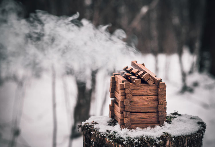 Close-up of stack of logs on snow