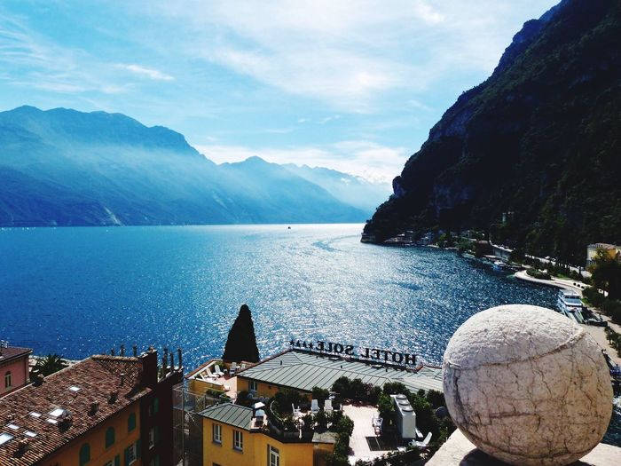 Riva View From Apponale Tower. EyeEmNewHere Riva Del Garda Apponacle Tower Travel View From Above Water Mountain Sky Cloud - Sky Beauty In Nature Nature Architecture Tranquil Scene