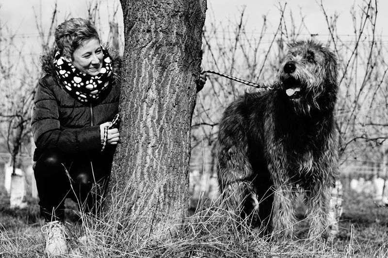 Photo by Allahobb ♥️ Togetherness Outdoors Gentle Giant. Dogsareawesome Love Dogs Of EyeEm Irish Wolfhound Animal Themes Have A Nice Day♥ Willi The Wolfhound Black&white Happiness Smiling Bonding Friendship Tree Branches Hello World Mommy And Son
